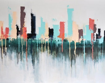 "Original Abstract Painting Modern Cityscape, Los Angeles Skyline 24x40"" UNSTRETCHED Rolled in a tube"