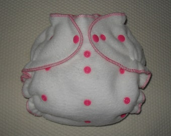 White fleece diaper cover wrap white with hot pink snaps
