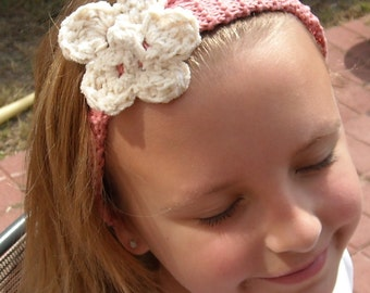 Knitted Pink Headband with Crocheted Ecru Flower