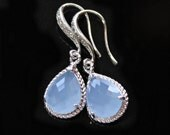 Powder Blue Crystal Teardrops Framed with a Silver Rope Trim on CZ Detailed Silver French Earrings