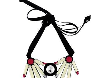 Hands perspex necklace with Swarovski crystal