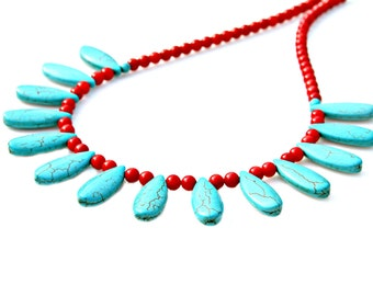 Turquoise Necklace, STATEMENT Necklace, Red Coral Necklace, Southwest Necklace, Goddess Necklace, Ethnic, Rustic Country Chic by Mei Faith