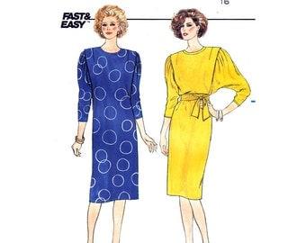1980s Batwing Sleeve Dress Pattern Butterick 3333 Loose Fit Dress Womens Bust 38 Vintage Sewing Pattern UNCUT