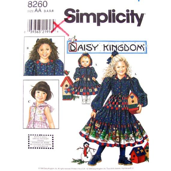 Girls Dress & Doll Dress Sewing Pattern Simplicity 8260 Daisy Kingdom Size 3 to 6 Doll 18 Inch