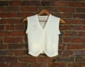 Vintage Cream White Pointelle Knit Sweater Top Sleeveless Vest (XS-S)
