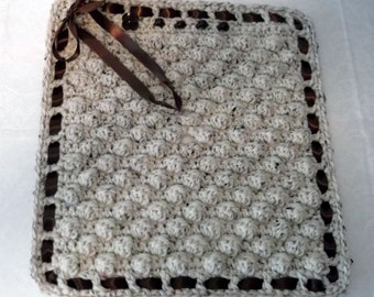 SALE Crochet Car Seat Blanket with Buckle Slits - baby girl - ready to ship