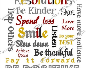 New Year Resolutions Subway Art. Instant Download  High Resolution JPG.  Printable. DIY