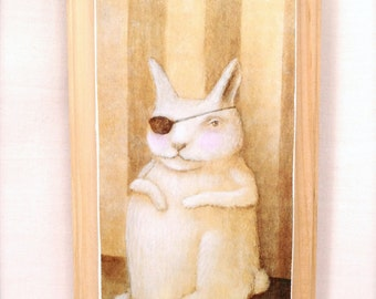 Cyclope Lapin (print mounted on wood)