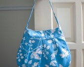 canvas purse // pleated shoulder bag // sky blue twig and leaf // the charlie bag // READY TO SHIP