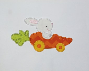 """Embroidered Iron On Applique-""""Carrot Car"""""""