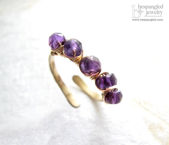 Amethyst Stacking Ring: February Birthstone Gemstone Ring Eco Friendly Jewelry - Gold or Rose Gold (Adjustable Size)