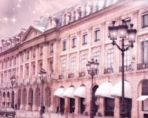 Paris Photography, Paris Pink Architecture, Paris Street Lamps, Paris Place Vendome, Paris Romantic Pink Buildings, Paris Street Lanterns