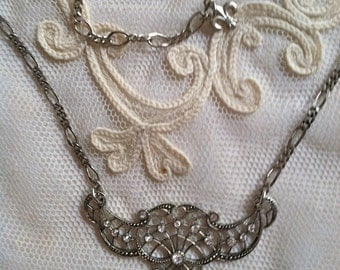 Fairy Vintage Silver  Bridal Repro Paris Rhinestone Necklace Princess Elegance with a touch of Bling