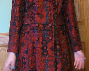 Beautiful Vintage Betty Rose Red Tapestry Long Coat Fur Collar size medium