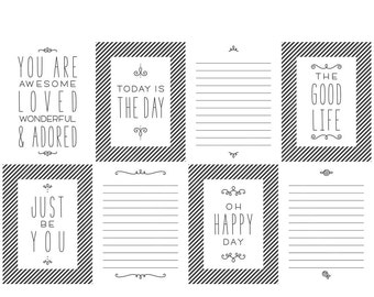 Any Day Digital Journal Cards - 3x4 project life inspired printable scrapbooking journaling note cards  - instant download - CU OK