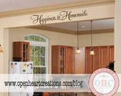 Happiness is Homemade Kitchen Wall Decal Saying - Kitchen Table or Dining Room Wall Saying 10H X 36W Qt0287