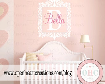 Elegant Initial and Name Wall Decals - Shabby Chic Baby Nursery Vinyl Wall Decal with Fancy Border 28h x 22w FN0143