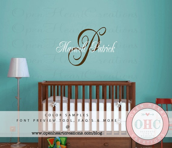 Baby Name Wall Decal - Initial and Name Monogram Vinyl Decal - Wall Sticker IN0015