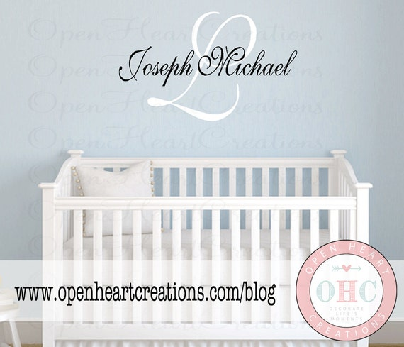 Monogram Wall Decal - Small Medium Large Extra Large Personalized Initial and Name Vinyl Wall Stickers - Baby Nursery Girl Boy Teen IN0031