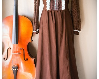 the tellulah dress in chocolate & pistachio mint - vintage inspired gunne sax dress - whimsical and romantic tea party dress