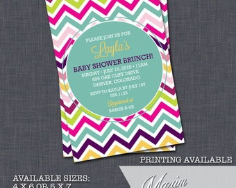 DIY Printable Invitation - Chevron Baby Shower Invitation, Rainbow Baby Shower, Party Invitation....by Maxim Creative Invites