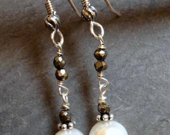 Pearl and Pyrite Gemstone Earrings - Sterling Silver and Gemstone Earrings - JUNE Birthstone