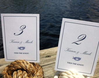 Nautical Wedding - 9-14 Nautical Rope Table Number Holders (3 turns) - smaller knots