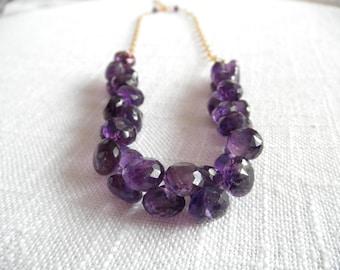 Chunky Amethyst necklace - gold necklace - V I D A 265