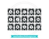 Scrabble Size Vintage Damask Typewriter Keys- Printable Digital Collage Sheet- Black & White- (Instant Download) PDF/JPG- Buy 2/Get 1 Free