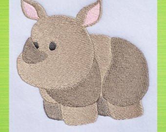 Rhinoceros Zoo Animal, INSTANT DOWNLOAD, Embroidery Design for Machine Embroidery 4x4