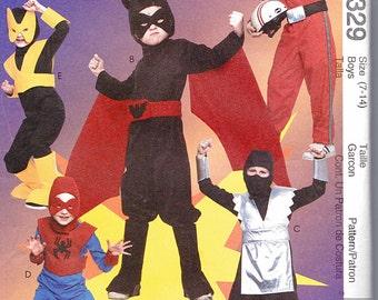 McCalls 3329 SUPER HERO Costumes Sewing Pattern (Kids/Boys 7-14) Jumpsuit Pattern Batman Spiderman Ninja Speed Racer Flash UNCUT