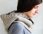 Chunky Hooded Cowl, Hand Knit in Oatmeal Gray Wool (D03)
