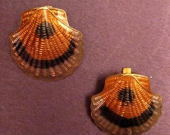 Vintage Shell Earrings Clip Enamel Ons Scallop Orange Black Lavender Beach Tropical