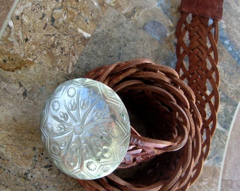 Vintage Leather Belt Moroccan  Metal Buckle Concho Boho Braided Brown Wide Hand Crafted 1980s