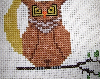 Vintage Counted Cross Stitch Owl, Embroidery Needlework Framed, Handmade Needlecraft, Oak Wood Frame, Crescent Moon, Hooter, Trendy Retro