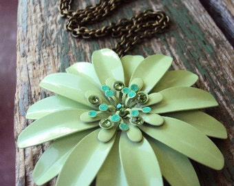 Vintage Style Metal Enameled Flower Brooch Pendant Necklace Chartreuse Green with Rhinestones