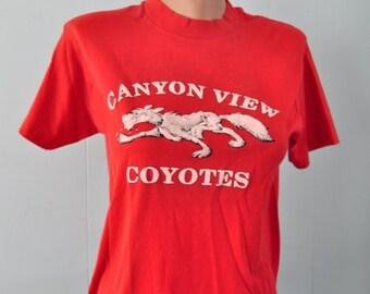 Distressed Vintage Tshirt Canyon View Coyotes Red Tee Nature Animals  Ladies Mens Small Short Medium