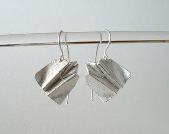 Origami Bat Airplane Earrings Sterling Silver Airplane Earrings Origami Plane Jewelry Bat Jewelry