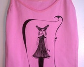 Pink Cotton Camisole Top with Gothic Art Sketch-Small