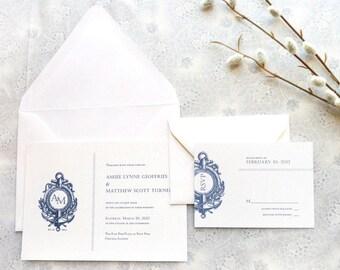 Anchor Nautical Wedding Invitations - Anchor Wedding - Monogram Wedding - Sailing Wedding - Summer Wedding - Ocean Wedding - Navy Wedding