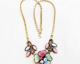 Trifari Pat Pending Multi Color Molded Glass Necklace, Trifari Glass Floral Necklace, Pastel Glass Trifari Necklace