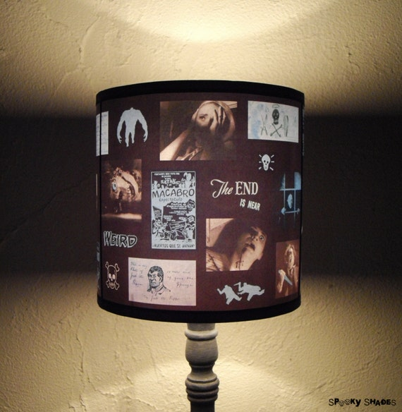 Blue Horror Lamp Shade lampshade - unique lighting, halloween decor, classic horror movie, night of the living dead, blue lamp shade, spooky