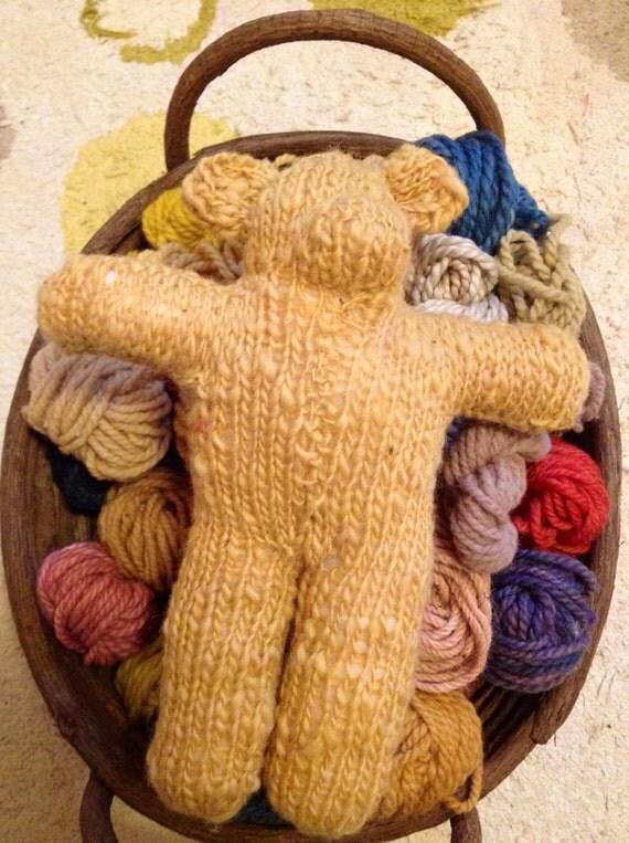 Knitted Bear Miss Honey Scrappie Bear Hand Spun Hand by 44clovers