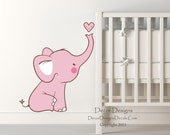 Baby Pink  Elephant Printed Fabric Repositionable Wall Decal