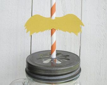 Lorax Inspired Mustache Straws