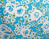 Cheerful Floral Cotton Stretch Sateen: White, Turquoise, and Green
