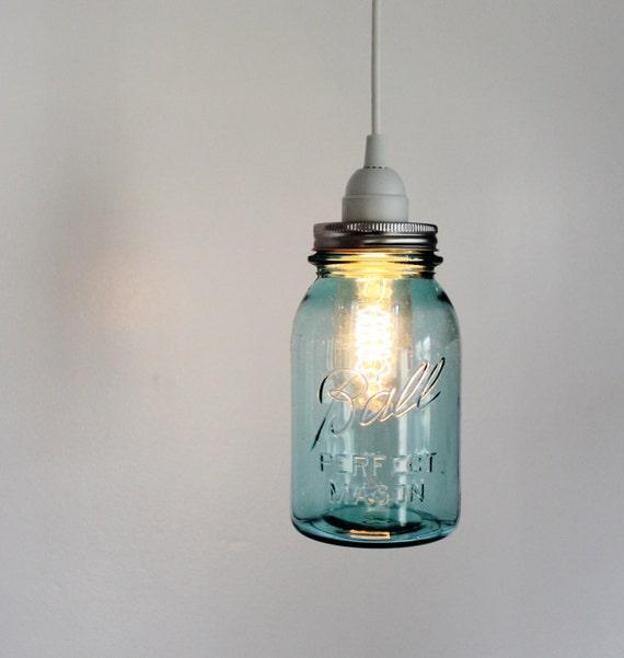 Mason Jar Light - Aqua Ocean Blue Sea Glass Modern Industrial Swag Lamp - Handcrafted Upcycled BootsNGus Hanging Pendant Lighting Fixture