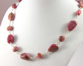 Rhodonite Gemstone Necklace, Chunky Pink Rhodonite Necklace, Gift for Her, Breast Cancer Awareness