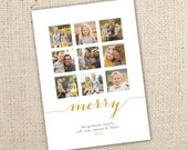 Classic 9 picture Holiday Card Digital Design (4x6, 5x7 and 6x7.5) - Color scheme to match photos