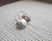 Petite Textured Disc Earrings - Sterling Silver Round Earrings - Delicate and Dainty Hammered Round Earrings